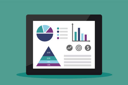 Business data market and charts on a tablet. Vector illustration.