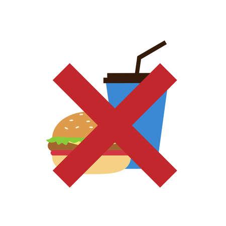 Not allowed to eat flat style vector. Illusztráció