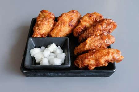 Korean style fried chicken in the restaurant.