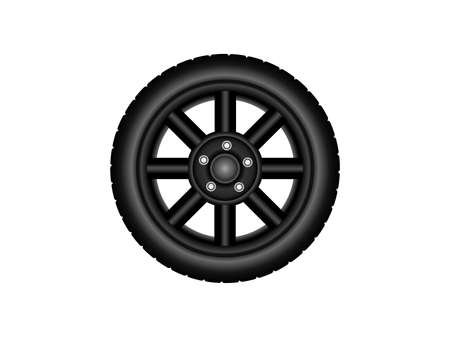 Wheel Black Disc. Vector design. White background. Isolated layers. Perfect for advertising shop wheels
