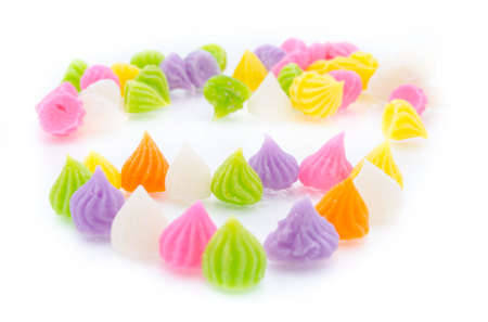 sugar paste: Close-up of colorful candy  isolated white background.