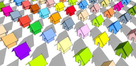 row houses: Molte delle case a schiera villaggio colorato arcobaleno.