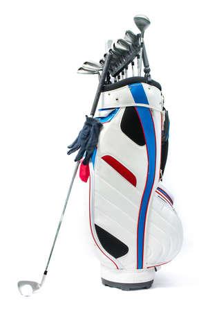 Hoge kwaliteit studio photogrphy van golfuitrusting op een witte achtergrond