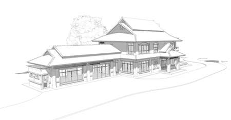 creation kit: model of a house, Asian-style two layers house draft.