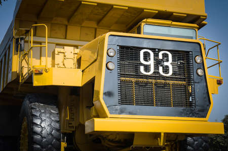Large haul truck ready for big job in a mine. Low saturation and photo