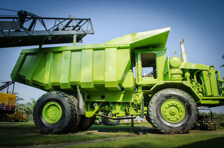 haul: Large haul truck ready for big job in a mine. Low saturation and Stock Photo