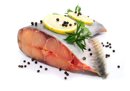 pangasius: prepared pangasius fish fillet pieces and spices