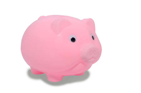 pink piggy bank isolated on white background photo