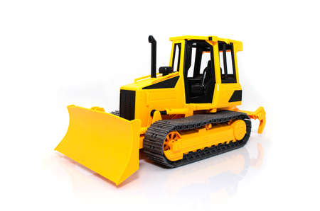 Heavy crawler bulldozer isolated on a white  photo