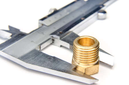 sliding caliper: vernier caliper measures the nut Stock Photo
