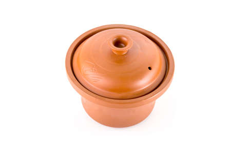 clay pot isolated on white background photo