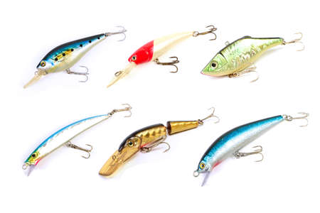 Fishing lures of colorful on white background. photo