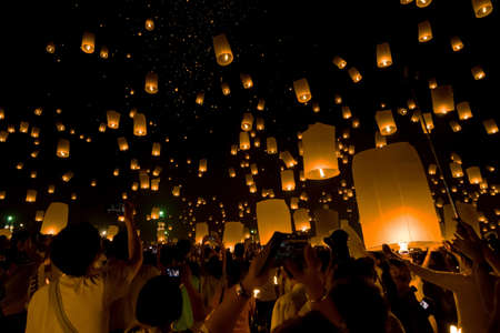 Floating lantern, YeePeng,Firework Festival in Chiangmai Thailand Stock Photo