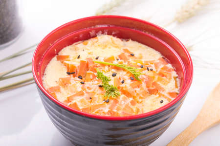japanese cookery: Steamed Egg with shrimp In a bowl, Japan
