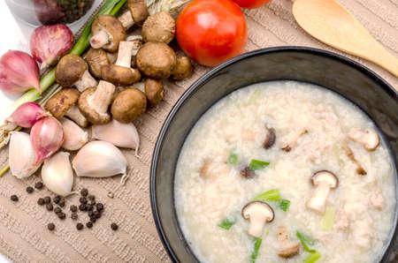 mush: Boiled rice pork or mush for thai style beakfat Stock Photo