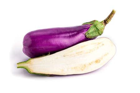 aubergine: Aubergine (eggplant)  on white background. Stock Photo