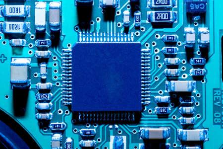 Close-up of electronic circuit board. Macro. Stock Photo