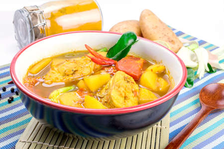 malay food: Yellow Curry with Fish Thai Southern Style Food