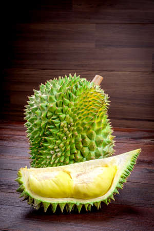 spiky: yellow Durian on wooden table