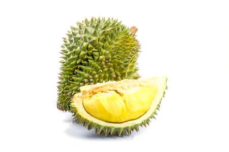 Koning van fruit, durian op witte achtergrond Stockfoto