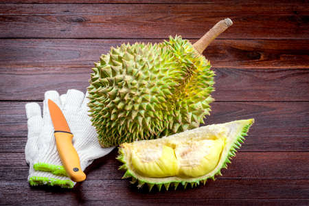 dissect: yellow Durian on wooden table