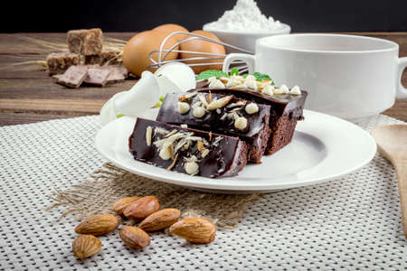 malted: Chocolate Cake on a white plate Stock Photo