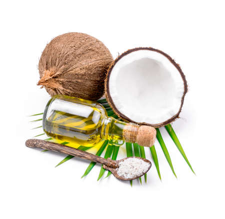 white backgroung: Coconut oil for alternative therapy on white backgroung.