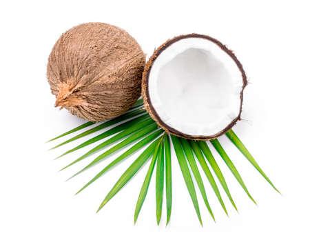 cocotier: Noix de coco avec des feuilles sur un fond blanc