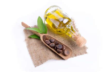 omega: camellia oil on white background