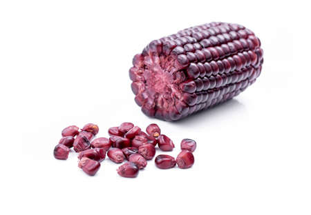 corn kernel: purple corn on a white background Stock Photo