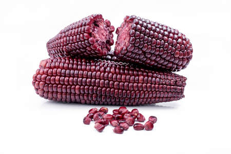 purple corn on a white background Stock Photo