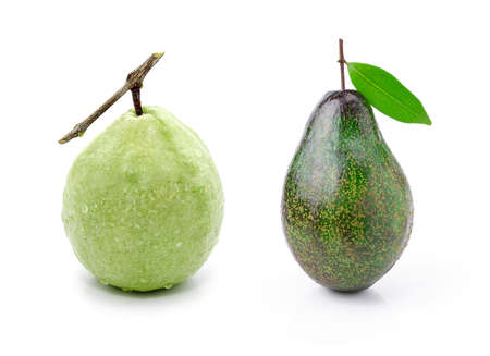 scurvy: Guava (tropical fruit) and Avocado on a white background.