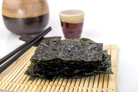 Roasted seaweed snack on bamboo mat