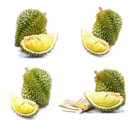 King of fruits, durian  on white background Imagens