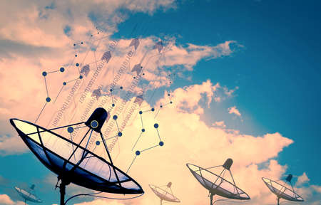 data transmission: Satellite dish transmission data