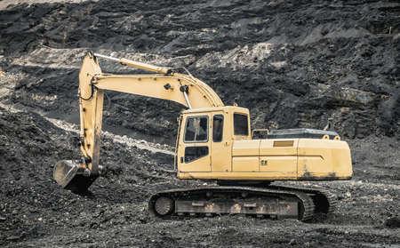 earthmover: Excavators in coal mines, Mae Moh, Lampang, Thailand. Stock Photo