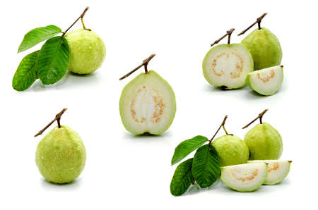 Guava (tropical fruit) set on white background Stock Photo