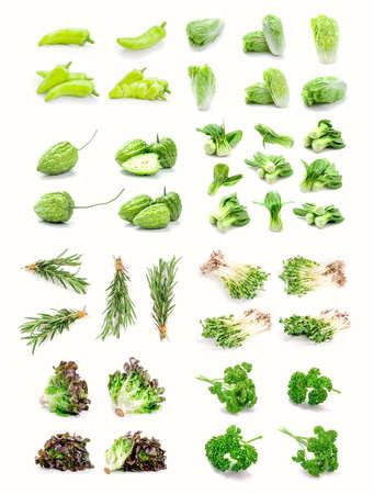 fresh vegetables set on a white background