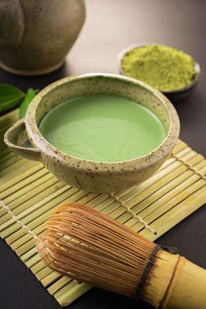 maccha: Japanese matcha accessories and green tea in bowl Stock Photo