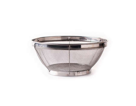 metal mesh: Stainless steel fry basket on white background Stock Photo
