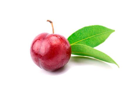 Red plum fruit on white background Stock Photo