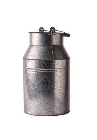 steel. milk: Milk can on white background.