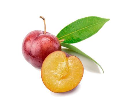 Red plum fruit on white background Reklamní fotografie