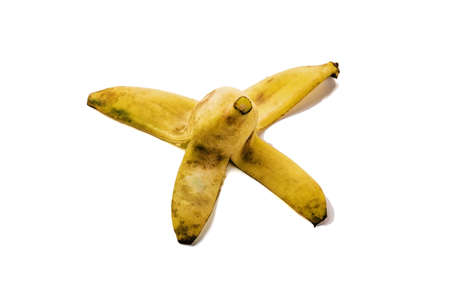 Peeled Cultivated banana on white background