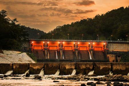 hydroelectric station: Scenery evening Kiew Lom Dam, Lampang, Thailand. Stock Photo
