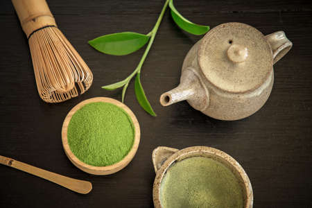 Matcha. Organic Green Matcha Tea ceremony. Matcha powder. Cooking with matcha, recipe Reklamní fotografie - 87113139