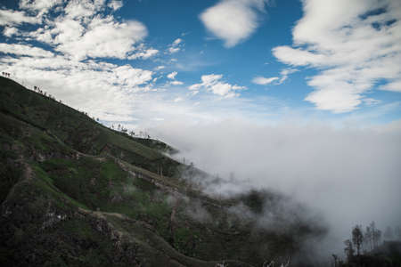 crater lake: The nature of mountains and morning sky in Indonesia Stock Photo