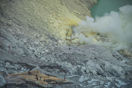 crater lake: Lake and Sulfur Mine at Khawa Ijen Volcano Crater, Java Island, Indonesia Stock Photo