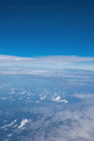 trip over: Beautiful sky with clouds, View from the plane. Stock Photo