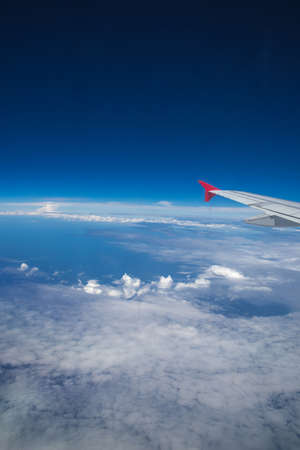 Beautiful sky with clouds, View from the plane. Stock Photo